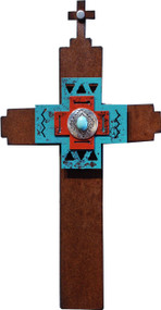 """Amazing Gift"" Cross by Redford Metal, rusted steel and recycled materials wall decor. 12"" tall."