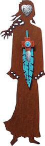 """""""Desert Dancer"""" Spirit Woman by Redford Metal, rusted steel and recycled materials wall decor. 18"""" tall."""