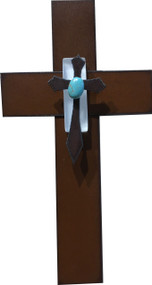 """Healing Love"" Cross by Redford Metal, rusted steel and recycled materials wall decor. 7"" tall."