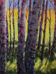 "Original painting by Maggie Renner Hellmann, ""Aspen Glow"", Oil, 11x14"