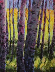 "Original painting by Maggie Renner Hellmann, ""Aspen Glow"", Oil, 11x14"