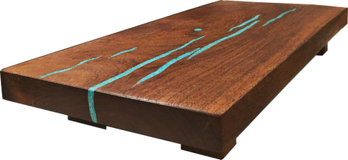 "Sushi Board with Turquoise Inlay by Treestump Woodworking. 14""x6.5""x2""."