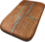"Mini Board with Turquoise Inlay by Treestump Woodworking. 10.25""x6.5""x0.75""."