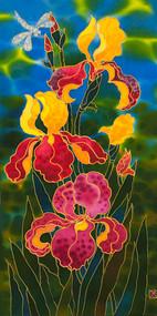 """""""Fluorescent Irises"""" by Yelena Sidorova 12x24"""