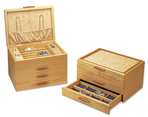 american made 1 2 and 3 drawer wood jewelry boxes by michael fisher of - Wood Jewelry Box