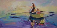 "Original painting by Estes Park painter Dawn Normali, ""Gone Fishing"", Oil, 12x24"