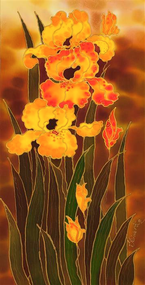 """Yellow Irises"" by Yelena Sidorova 12x24"