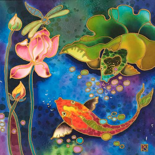 """Fish Pond"" by Yelena Sidorova 12x12"