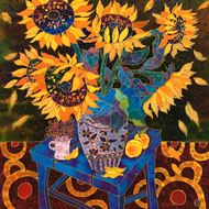 """Still Life With Sunflowers"" by Yelena Sidorova 24x24"