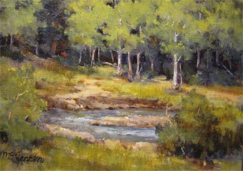 """Across the River, Endovalley"" Margaret Jensen 9x12"
