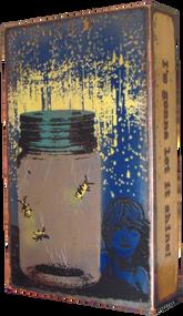 "Houston Llew Spiritile - #094, ""Shine On"" - Molten glass over copper art."