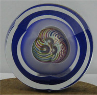 """Striped Paperweight with Bubble in Harlequin"" by Paul Harrie"