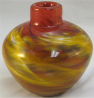 """Navajo Vase in Red and Amber"" by Mark Rosenbaum, Rosetree Glass"