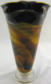 """Fluted Vase in Amber Landscape"" by Mark Rosenbaum, Rosetree Glass"