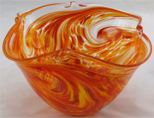 """Pinch Bowl in Hot Mix"" by Mark Rosenbaum, Rosetree Glass"