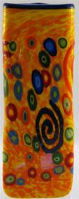 """LargeTriangle Vase in Yellow Spiral"" by Michael Maddy & Rina Fehrensen, Mad Art Studio"