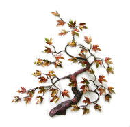 """Bent Maple Tree with Enameled Autumn Leaves by Bovano of Cheshire. 20""""w x 22""""h"""