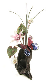 Purple Butterfly with Flowers on Manzanita by Bovano of Cheshire Metal