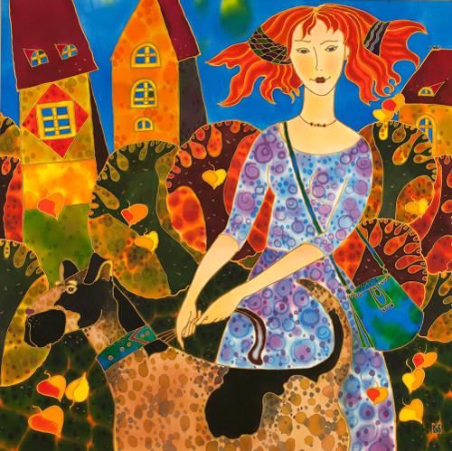 """Whimsical Autumn"" by Yelena Sidorova, Silk Painting 30x30"