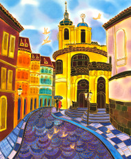 """Prague, Old Street"" by Yelena Sidorova, Silk Painting 20x24"