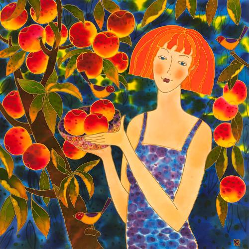 """Passion Fruit"" by Yelena Sidorova, Silk Painting, 24x24"