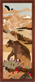 """Bear Mountain"" by Jeff Nelson, Wood Marquetry, 18x40"