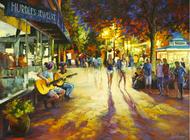 "Original oil painting on canvas by Stanislav Sidorov, ""Guitar Players"" 30x40"