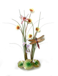 "Two Dragonflies in a Mallow Flower Meadow by Bovano of Cheshire. 11""w x 16""h  The sculpture is hand made using vitreous enamel (powdered glass) layered over solid copper and then kiln fired to fuse the glass to the metal."