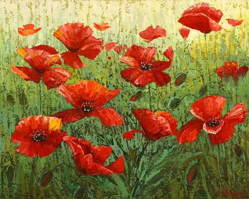 "Original oil painting on canvas by Stanislav Sidorov, ""Poppies"" 24x30"