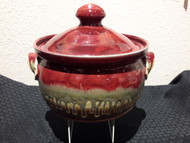 "Bean Pot LG in Red Glaze by Ray Pottery, 9w""x5h"" crock, with lid 8""h. Glazes are applied by a combination of dipping and spraying."