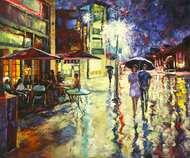 "Original oil painting on canvas by Stanislav Sidorov, ""Rainy Night (Boulder, CO)"" 24x30"