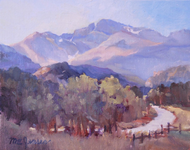 """Longs Peak Distant"" by Margaret Jensen, Oil 8x10"