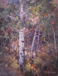 """""""Aspen Portrait"""" Margaret Jensen Oil, 11x14"""