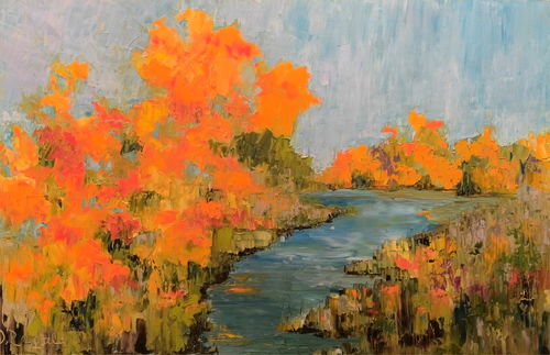 """Beyond the River's Bend"" Dawn Reinfeld 30x48"