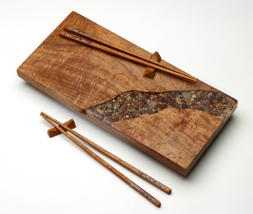 Sushi Board with River Rock (Matching Chopsticks Shown) by Ron and Christine Sisco