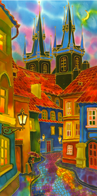 "Original silk painting by Yelena Sidorova, ""Evening in Prague"", 18x36"