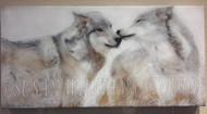 Wolf Brothers III Side/Kiss 12x24 by Susan Williams Hand colored black and white photos using vintage techniques (Sepia browns and Cold Chloride Blues). The result is a pared-down minimalist palette with added depth and an atmospheric ethereal, multi-dimensional feel.
