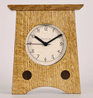 """Arts & Crafts Clock #2"" by Mark and John Schlabaugh Quartersawn White Oak with ""Nut Brown Oak"" finish and wenge wood accents. 5w x 6h x 2d"