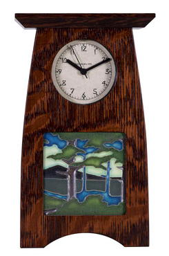 Arts & Crafts Tile Clock in Craftsman Oak Finish with your choice of 4x4 Motawi Tile. 6w x 10h x 3d