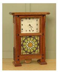 Greene & Greene Mantel Clock with your choice of any handcrafted Motawi 6x6 tile 11w x 15h x 5d