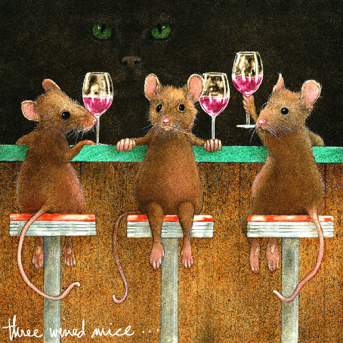 """""""Three Wined Mice"""" Metal Print by Will Bullas 8x8"""