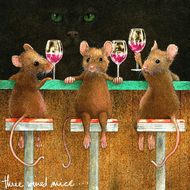 """Three Wined Mice"" Metal Print by Will Bullas 8x8"