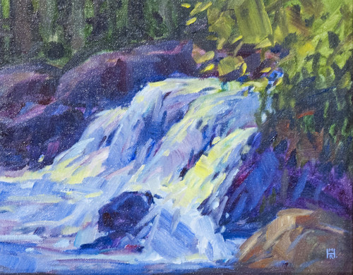 "Original painting by Maggie Renner Hellmann, ""Water Dance"", Oil, 8x10"