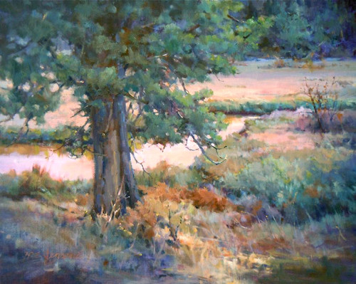 "Original painting by Margaret Jensen, ""Twilight Horshoe Park"", Oil, 16x20"