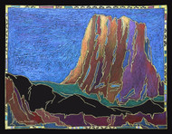"""Original painting by Lou Renner, """"Devils Tower"""", Mixed media, 16x20"""