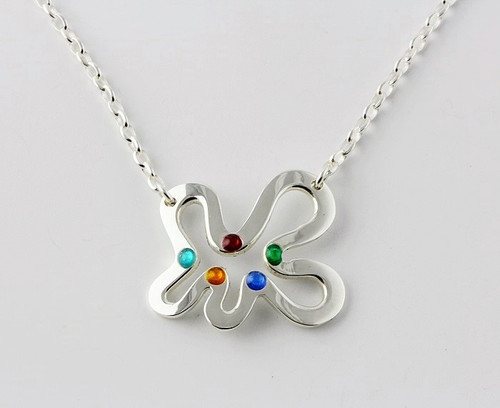 """Amoeba Pendant"" by Ann Carol Jewelry based in Boundbrook, NJ. Each piece is made with sterling silver and accented with hand painted enamel designs on a 18 Inch Chain."