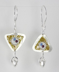 """Earrings Triangle Drop/ Swarovski Crystals with Gold Bead Inlay"" by Ann Carol Jewelry based in Boundbrook, NJ. Each piece is made with sterling silver and accented with hand painted enamel designs."