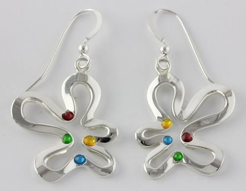 """Earrings Ameoba Drop"" by Ann Carol Jewelry based in Boundbrook, NJ. Each piece is made with sterling silver and accented with hand painted enamel designs."