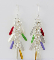 """Earrings Tiny Sticks Drop "" by Ann Carol Jewelry based in Boundbrook, NJ. Each piece is made with sterling silver and accented with hand painted enamel designs."