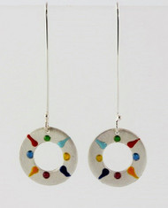 """Earrings Donut, Palette Design"" by Ann Carol Jewelry based in Boundbrook, NJ. Each piece is made with sterling silver and accented with hand painted enamel designs."